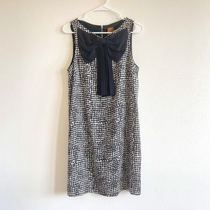 Ali Ro Bow Front Black Printed Silk Dress Size 12